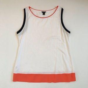 Ann Taylor tank top w/ orange & navy trims